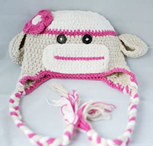 Handmade Crochet Baby sock monkey Hat in Beige and pink color 1-3 Year