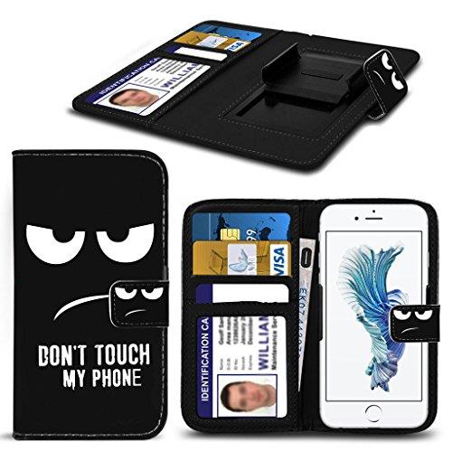 Spyrox - Kazam Thunder 450W Case Cuoio stampato Dont Touch My Phone Testo Mad occhi design raccoglitore del modello copertura della molla della pelle morsetto Style