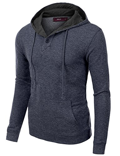 Doublju Mens Trendy Stretchy Long Sleeve Plus Size Pullover Hoodie NAVY,XL