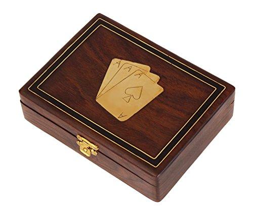 regali di Natale Natale Ringraziamento gli oggetti artigianali decorativi di legno doppio Scheda di gioco titolare Deck scatola con ottone Ace disegni intarsio & Fermo