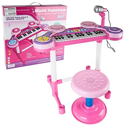 Kids-Authority-Children-Piano-with-Stand-Electronic-organ-kids-Keyboard-with-Microphone-Pink