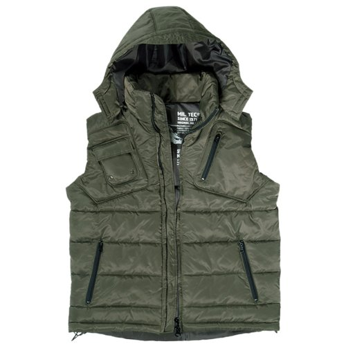 Winter Body Warmer Mens Vest Gilet with Detachable Hood Hiking Camping Olive