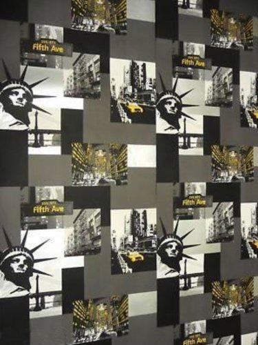 Nera / Bianca / Argento / Giallo - 575309 - Taxi New Yorkese - Carta Da Parati