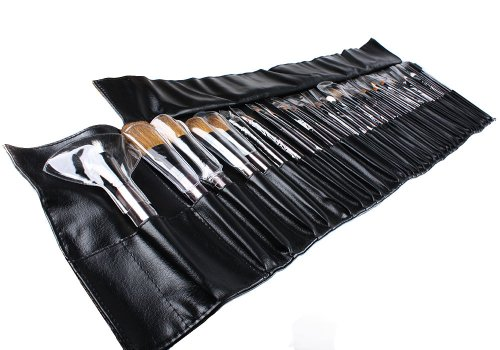 Bundle Monster 34pc Studio Pro Makeup Make Up Cosmetic Brush Set Kit w/ Leather Case - For Eye Shadow, Blush, Concealer, Etc.