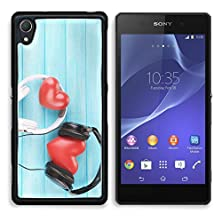 buy Msd Premium Sony Xperia Z2 Aluminum Backplate Bumper Snap Case Headphones And Hearts On Wooden Background Image 30557147