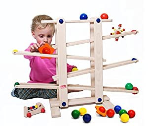 Trihorse wooden ball track for children from 1 year old, very stable with 6 riding toys, made in EU