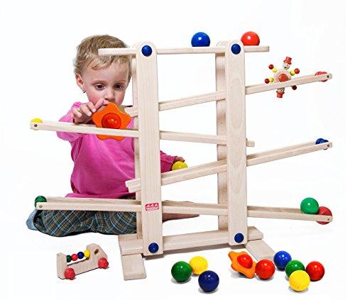 Trihorse - Gioco in legno per bambini da 1 anno di età, molto stabile, con 6 giochi da far rotolare, prodotti in Europa