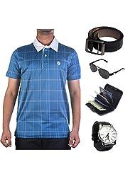 Garushi Blue T-Shirt With Watch Belt Sunglasses Cardholder - B00YMKTM80