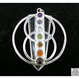 Necklace White Quartz Viseca Symbol with Chakras minerals (Silver Plated)