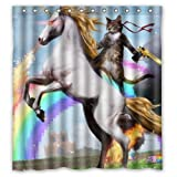 "Personalized Funny Unicorn and cat Shower Curtain, Shower Rings Included 100% Polyester Waterproof 66"" x 72"""