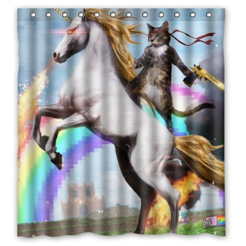 Personalized Funny Unicorn and cat Shower Curtain, Shower Rings Included 100% Polyester Waterproof 66