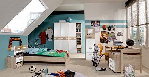 Jugendzimmer 6-tlg. in Eiche sägerau/Alpinweiß-Dekor, 2-trg. Schrank, Regalschrank, Bett 140×200 cm, Nachtschrank, Schreibtisch, Rollcontainer jetzt bestellen