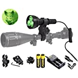 Orion M30C 377 Yards 700 Lumen Red or Green Long Distance LED Hog Predator Varmint Hunting Light Flashlight Kit - Scope Barrel Rail Rifle Mounts, Pressure Switch, Rechargeable Batteries and Charger