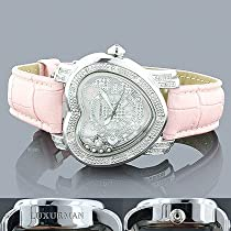 Luxurman Ladies Heart Diamond Watch 0.30ct Pink