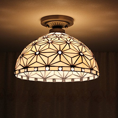 8-inch Vintage Pastoral Stained Glass Tiffany Ceiling Light Living Room Chandelier Hallway Chandelier