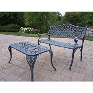 Oakland Living Mississippi Cast Aluminum Settee Bench and 35 by 18-Inch Cocktail Table Set, Verdi Grey