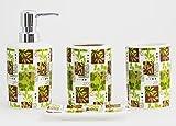 JustNile 4-Piece Ceramic Gardenesque Bathroom Accessory Set - Brown Green Leaf