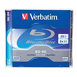 Verbatim 95358 25 GB 2x Blu-ray Single Layer ReWritable Disc BD-RE, 1-Disc Jewel Case