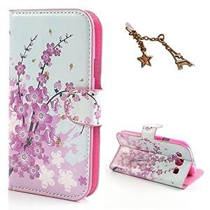 Uming Modèle en cuir pour Samsung Galaxy S3 I9300 fleur colorée rose de fleur Cas de cuir de modèle de caisse de peau de protecteur de prise Cover + 1PC anti-poussière