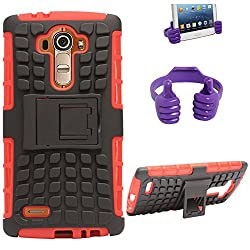 DMG Dual Hybrid Hard Grip Rugged Kickstand Armor Case for LG G4 H815 (Red) + Mobile Holder Hand Stand