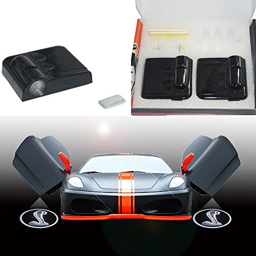 For Ford Shelby Gt500 Naja Snake Logo Wireless Car Door Step Cree Led Projection Projector Light Courtesy Welcome Logo Shadow Ghost Light Lamp Projector Black