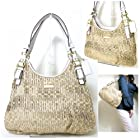 Coach Madison Maggie Gathered Signature Hobo Handbag 18886 Light Khaki PH White