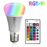 Zeben E26 LED Light Bulb 10W RGB Color Changing Dimmable RGBW LED Light Bulbs Daylight 6000k A19 Lamp with Remote Controller for Home Bar Party KTV Decoration
