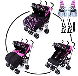 Twin Citi Elite with Twin reins and waist strap. Double Buggies Twin buggy Pushchair with footmuffs Fits through single doorways Both seats 5 position suitable from birth seats independently operated UNIQUE reflective strip on visa for extra safety 2 todd