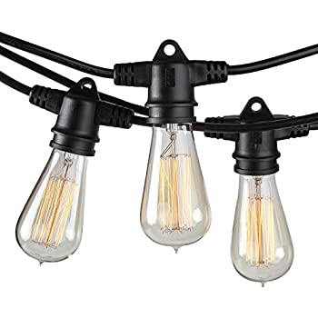 Brightech - Ambience Pro Vintage Edition with WeatherTite Technology - Outdoor Weatherproof Commercial Grade String Lights with Included Antique Edison Bulbs - Black Color