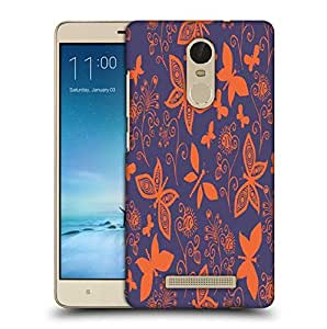 Snoogg Orange Butterflies In Purple Pattern Printed Protective Phone Back Case Cover For Xiaomi Redmi Note 3