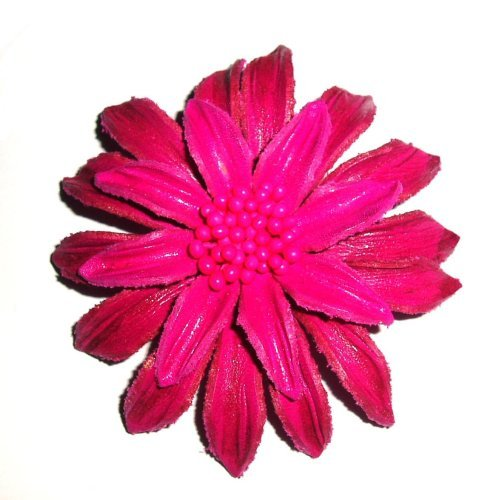 Tribe Leather Large Spiky Pink Brooch / Pin