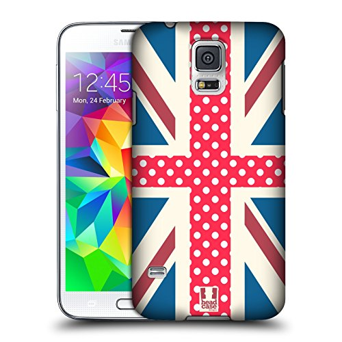 Head Case Designs Electric Crimson Dots Union Jack Collection Protective Snap-on Hard Back Case Cover for Samsung Galaxy S5