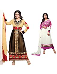 Jay Sarees Women's Faux Georgette Black And White Anarkali