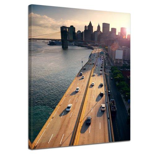 Bilderdepot24 Leinwandbild New York City - 50x70 cm 1 teilig - fertig gerahmt, direkt vom Hersteller