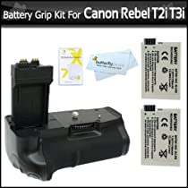 Photive PH-BGE8 Battery Grip With 2 Extra Replacement LP-E8 Batteries For Canon Rebel T5i, T4i, EOS 650D, T2i/ EOS 550D T3i Digital SLR Bundle