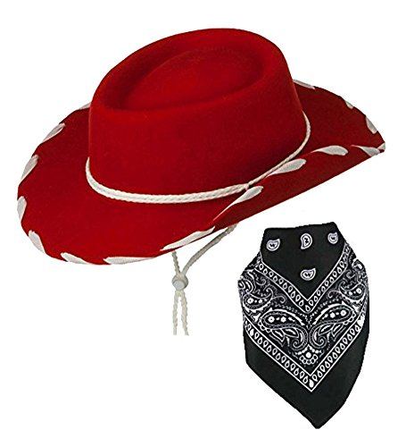 [Red Children Felt Cowboy Hat With White Cord Lacing & Black Paisley Bandanna] (Halloween Costumes With Red Bandana)