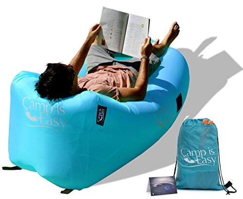 Inflatable Air Lounger Sofa Bed With Special Headrest Design. Strong Waterproof Parachute Material. Lightweight Lounge Chair Couch For Camping, Pool, Festival & Beach. Back Bag & Warranty Included. (Motorized Couch compare prices)