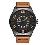 2017 New CURREN Men Watch Fashion Luxury Sport Male Military Wristwatch Brown Leather Quartz Watch 8258