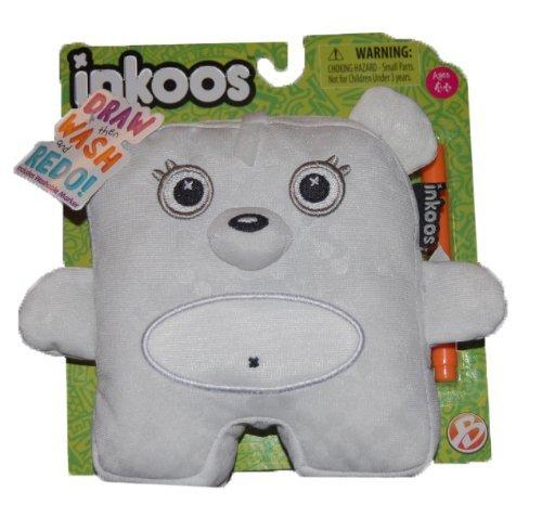 1 X Inkoos Mini Plush Bear with Marker - White - by Inkoos