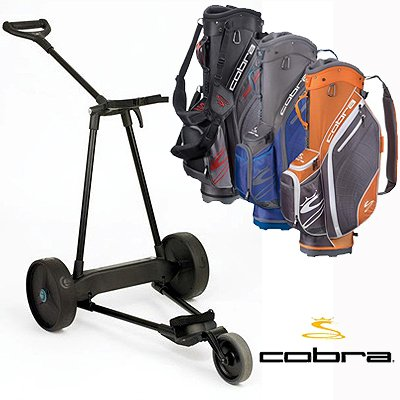 New! Emotion E3 23Lbs Pull Push Electric Motorized 3-Wheel Golf Cart Trolley + New! Cobra Excell Cart Bag