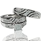 His and Her rings trio wedding set white gold 0.4ct diamonds princess style top