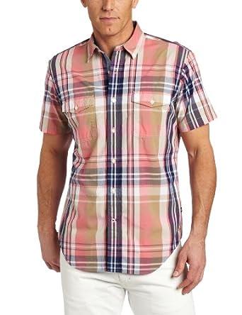 (暴跌)Nautica Men's  Large Scale Plaid Shirt 诺帝卡男士短袖沙漠玫瑰色 $39.59