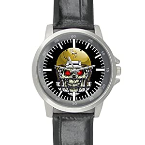 Dude custom vikings Men's Black Leather Alloy Watch water-resisting Perfect Gift for men Taojing