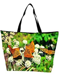 Snoogg Multiple Butterflies In White Petals Designer Waterproof Bag Made Of High Strength Nylon