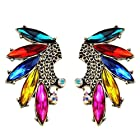 Yazilind Peacock Shape Colorful Oval Crsytal Gold Plated Alloy Big Stud Earrings for Girl