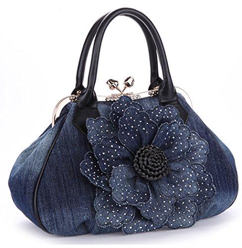 KAXIDY Ladies Girls Womens Denim Handbag Jean Bag Denim Shoulder Bag Shopper Satchel Messenger Tote Bags (Black)