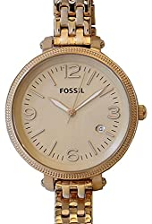 Fossil Women's ES3130 Stainless Steel Analog Gold Dial Watch