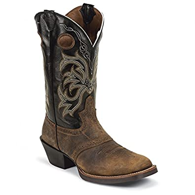 Justin Men's Punchy Stampede Cowboy Boot Square Toe Tn Distressed US
