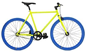 Retrospec Mini Mantra Fixie Bicycle with Sealed Bearing Hubs and Headlamp, Neon Yellow and Blue, 49cm/Small