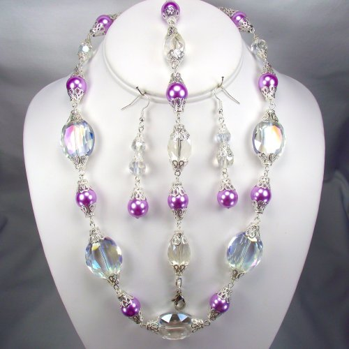 Lilac pearls and Clear Oval crystals